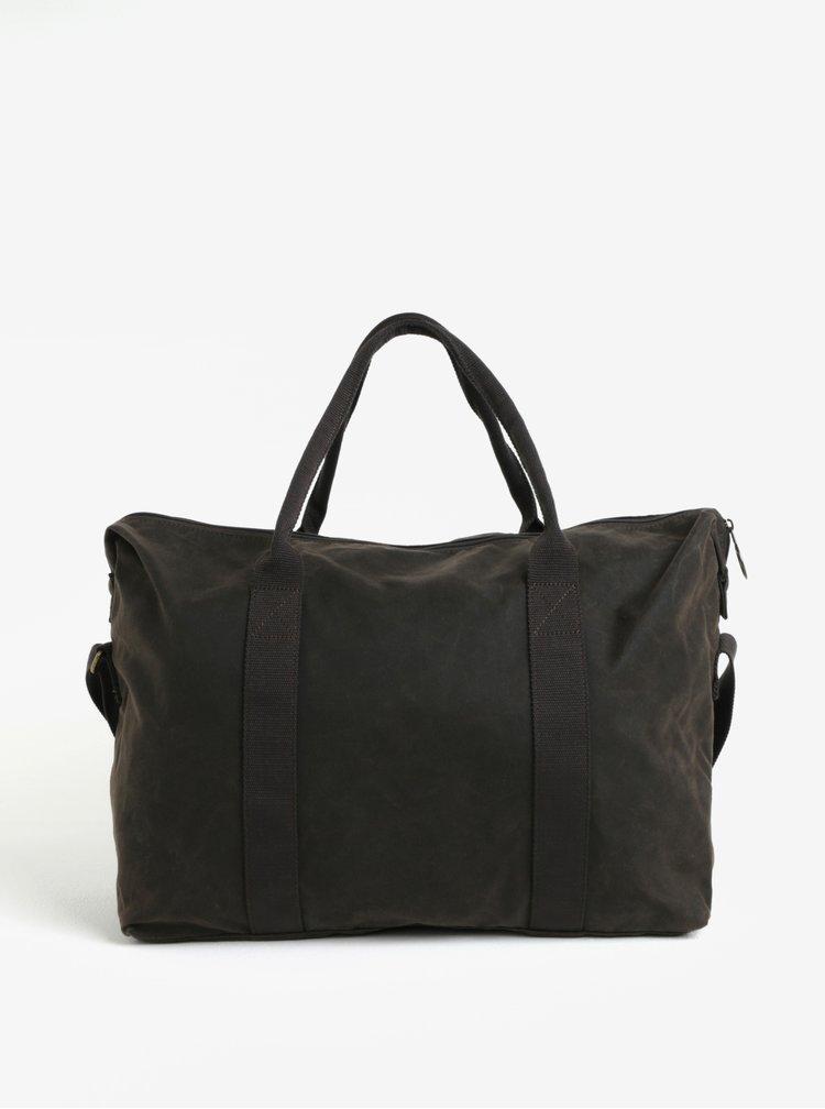 Tmavě hnědá cestovní taška Barbour Dromond