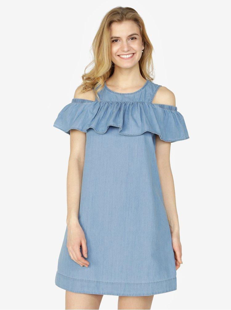 Světle modré džínové šaty s průstřihy na ramenou a volánem VERO MODA Samba