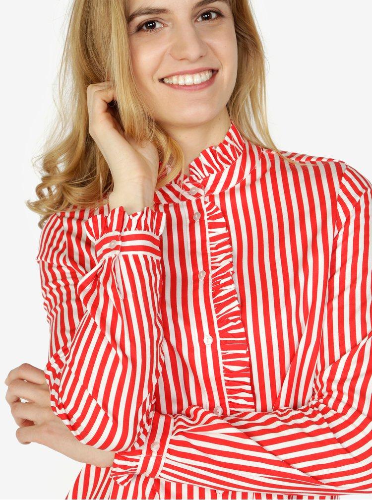 Bielo–červená pruhovaná košeľa s dlhým rukávom VERO MODA Lizette