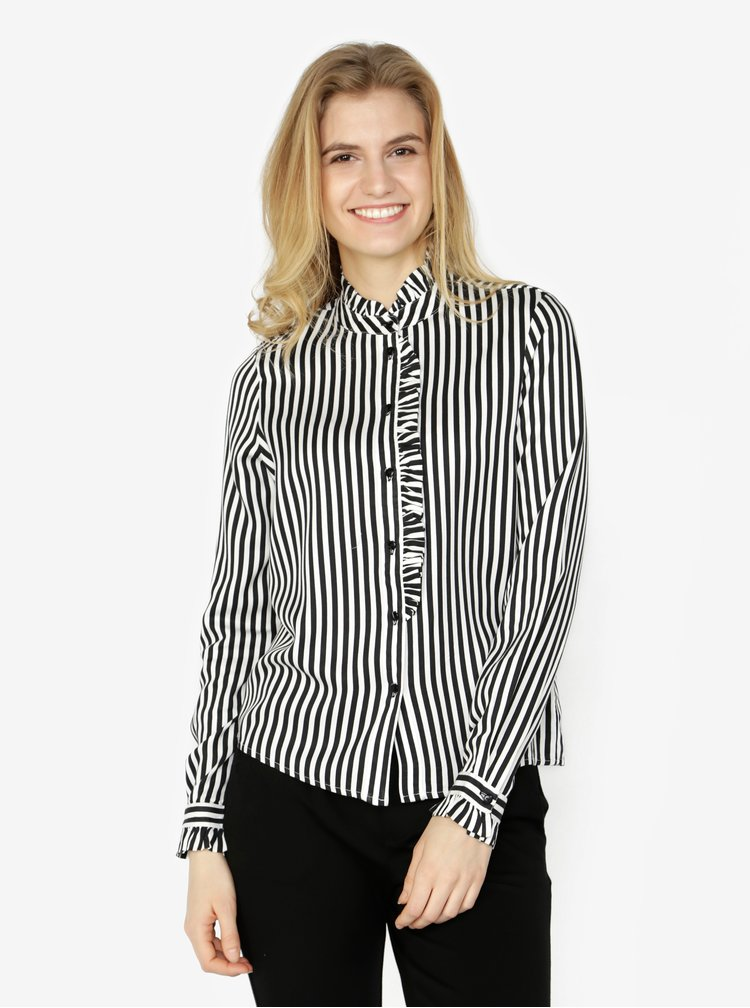 Černo-bílá pruhovaná košile s dlouhým rukávem VERO MODA Lizette