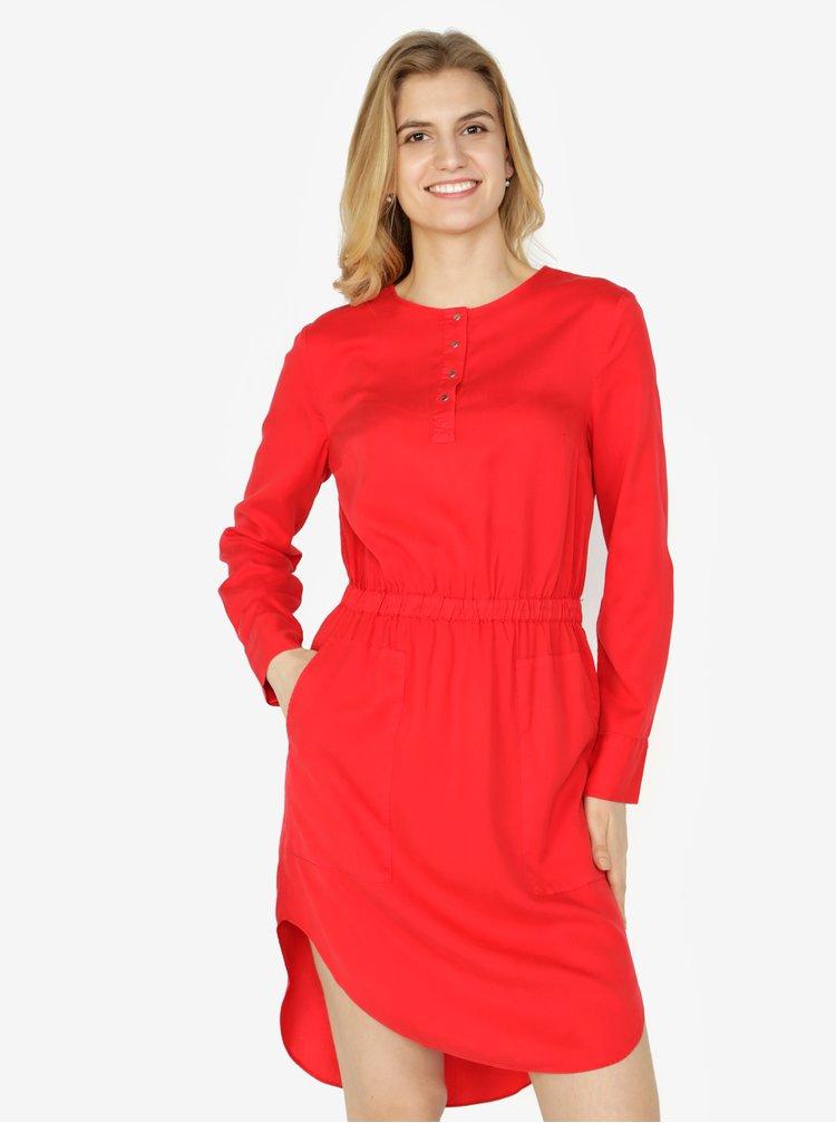 Červené šaty s dlouhým rukávem Calvin Klein Jeans Darcy