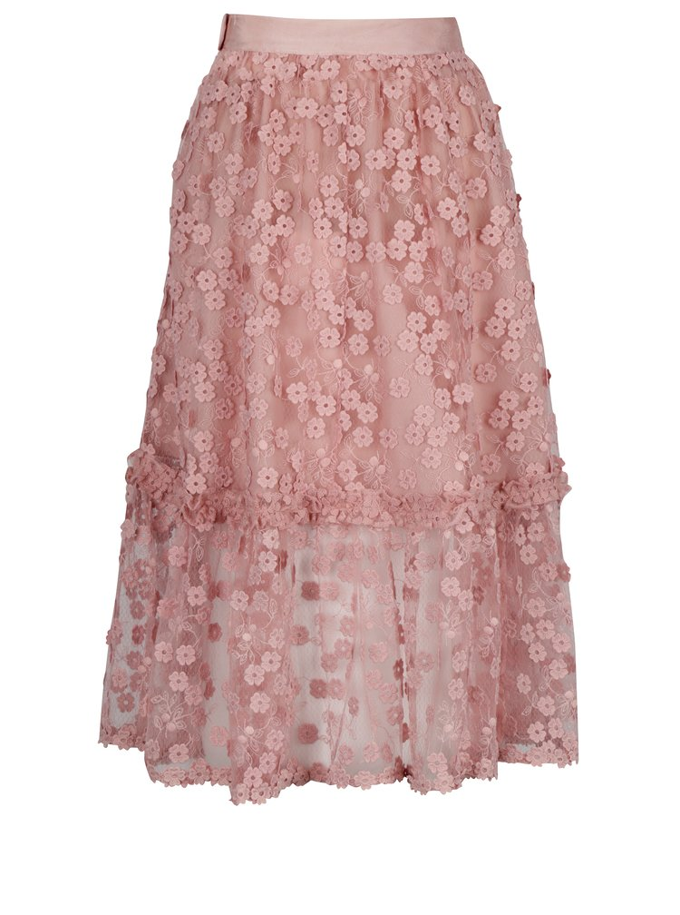 Fusta roz midi cu broderie florala - French Connection Caballo