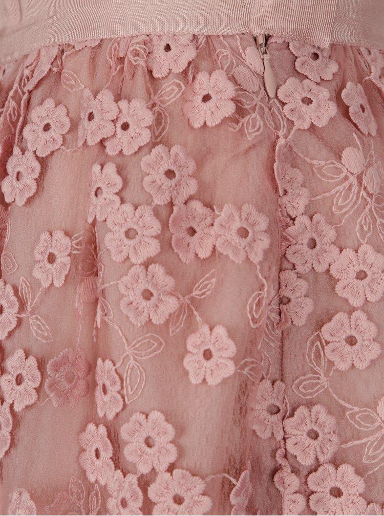 Starorůžová midi sukně s květinovou výšivkou French Connection Caballo