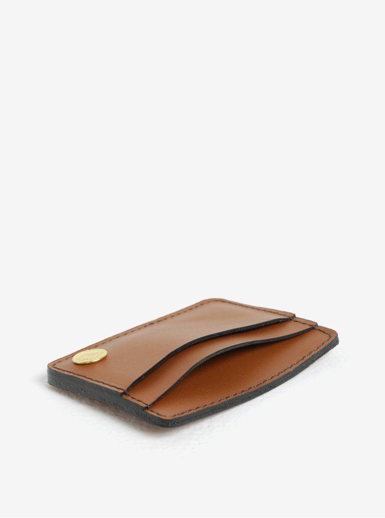 Portofel maro din piele naturala pentru card si documente - Herschel Ace