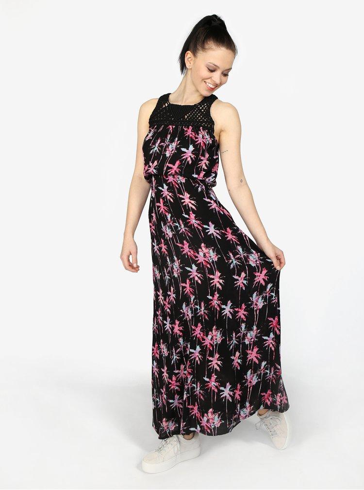 Černé vzorované maxi šaty Superdry