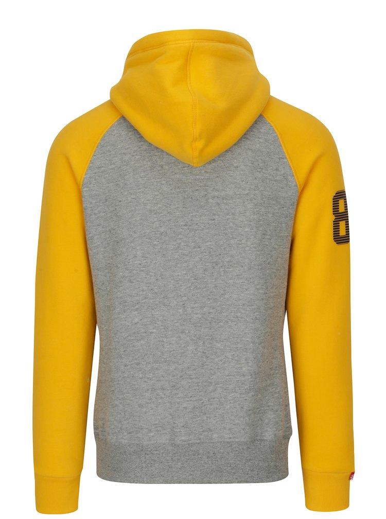 Žluto-šedá pánská mikina s kapucí Superdry