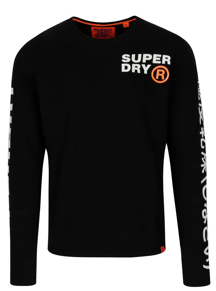 Černé pánské tričko s dlouhým rukávem Superdry