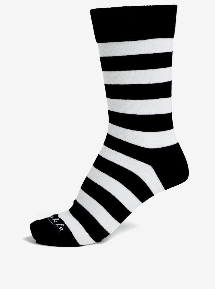 Set de 3 perechi de sosete unisex alb & negru cu model - Fusakle