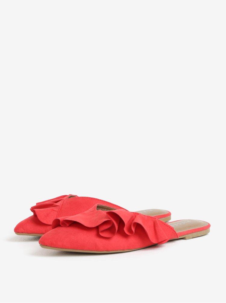 Červené pantofle v semišové úpravě Pieces Donelle