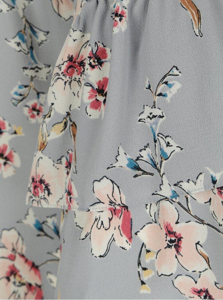 Světle modré květované šaty s volány Dorothy Perkins Curve