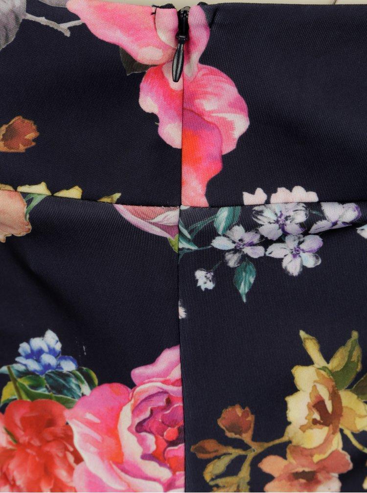 Rochie bleumarin cu decolteu pe umeri si print floral - Scarlett B