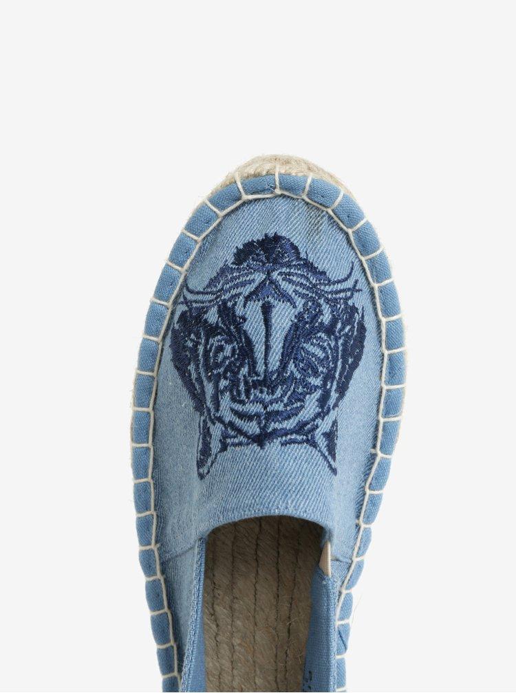 Modré džínové espadrilky s výšivkou Pieces Haila