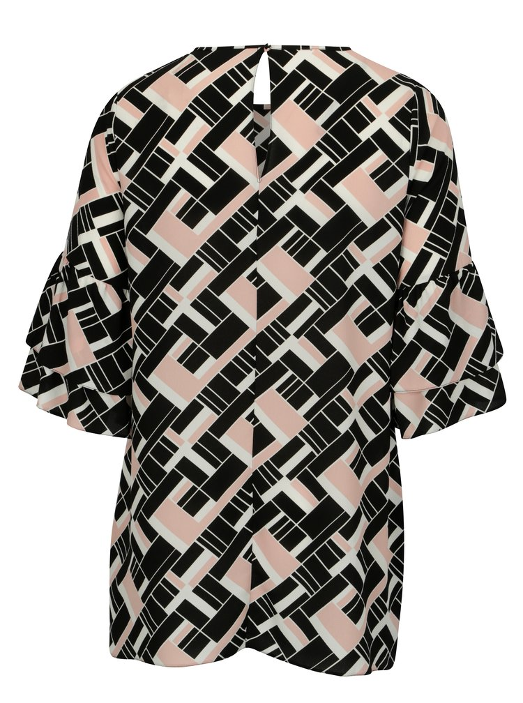 Černé vzorované šaty s volány Dorothy Perkins Curve