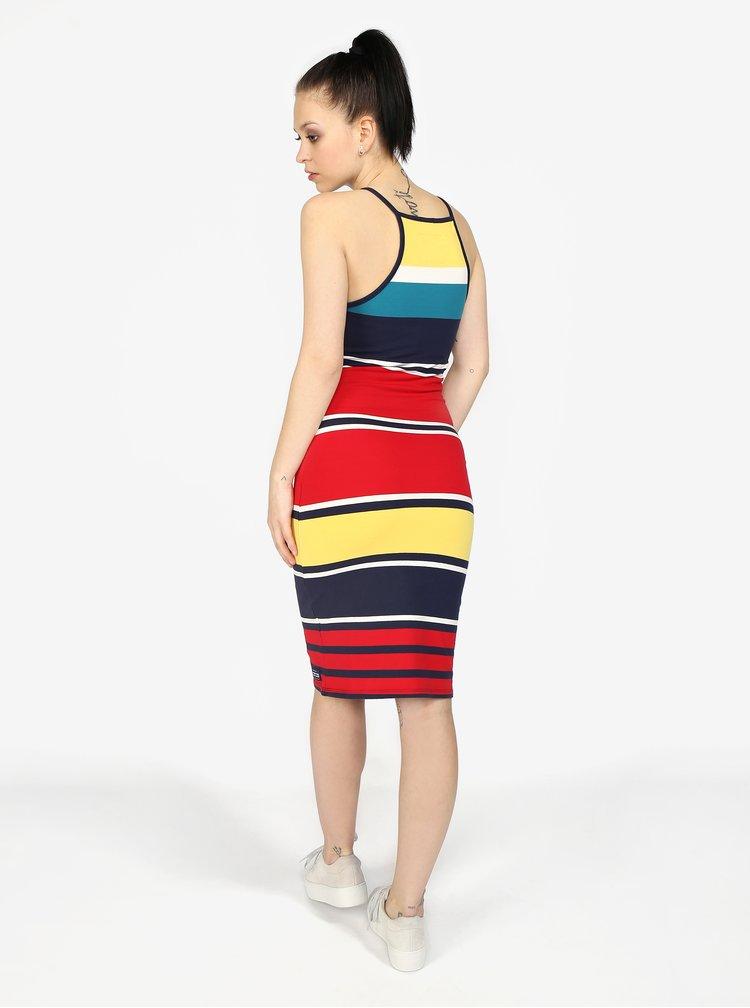 Modro-červené pruhované šaty Superdry