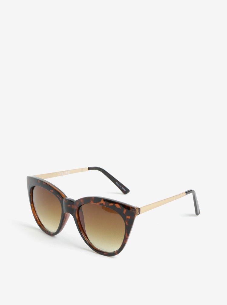 Hnědé vzorované sluneční brýle Pieces Ginna