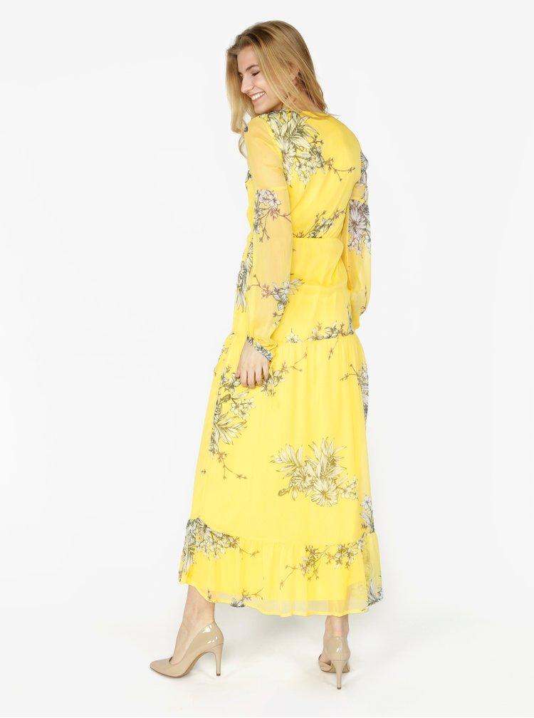 Žluté květované maxišaty s dlouhým rukávem VERO MODA Satina