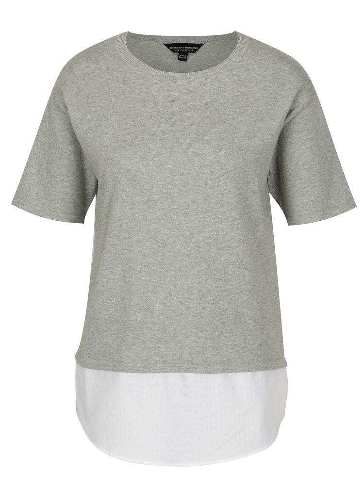 Světle šedý top s všitým košilovým lemem Dorothy Perkins
