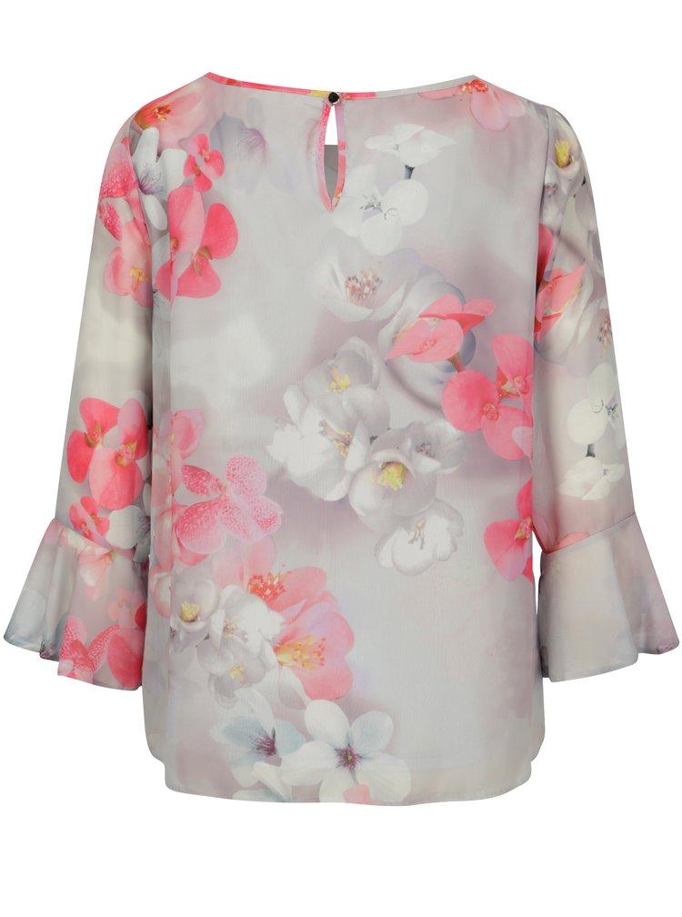 Světle šedá květovaná halenka s řasením a flitry Billie & Blossom