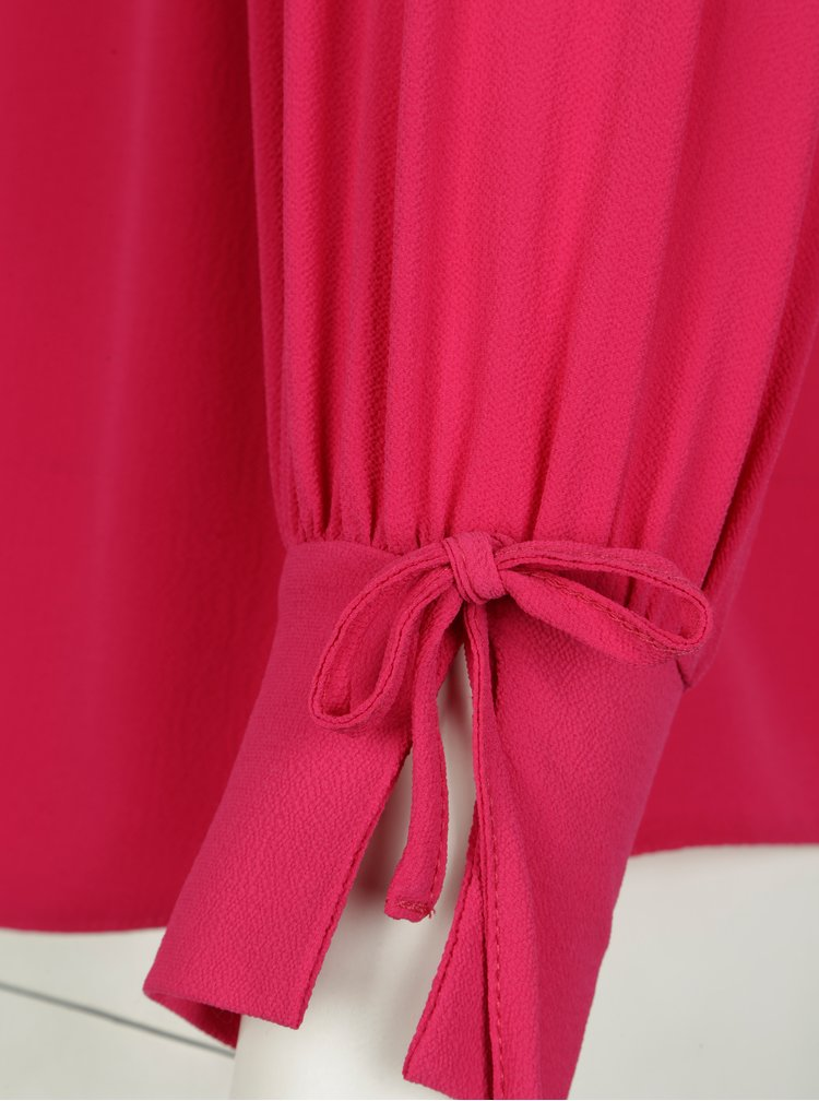Růžová halenka s mašlemi na rukávech Dorothy Perkins Curve