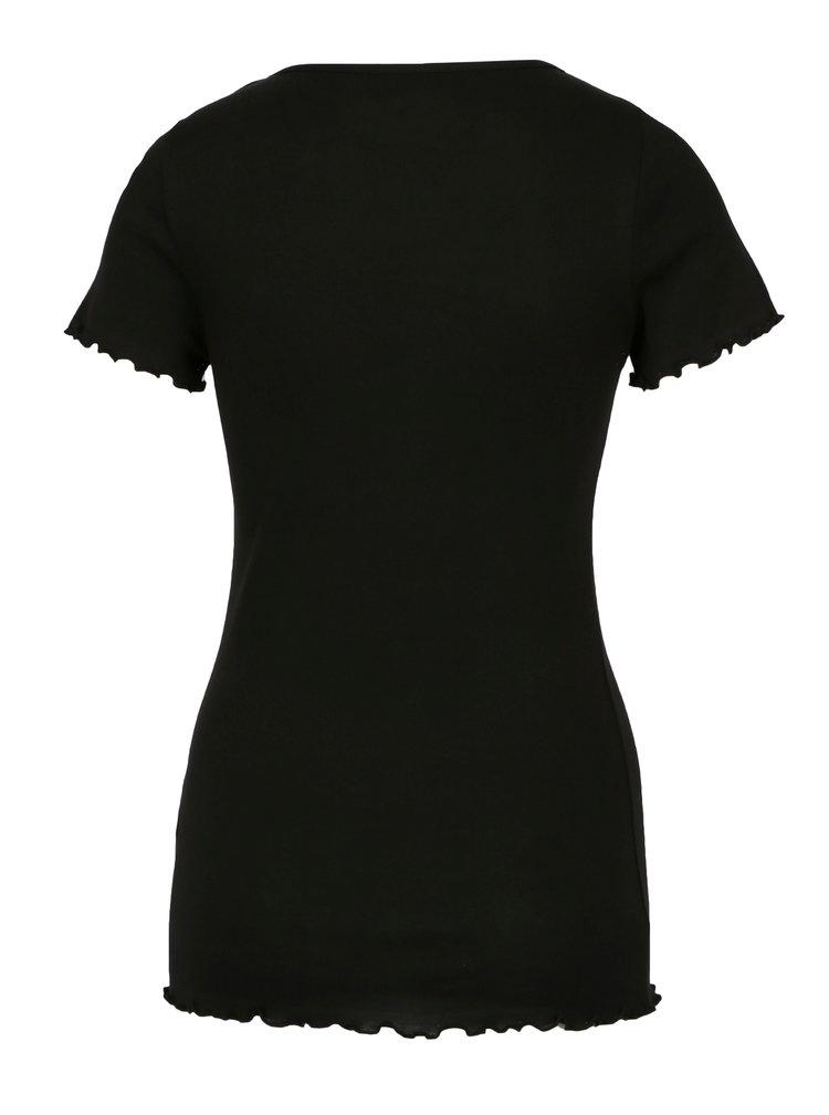 Černé tričko s volány Dorothy Perkins