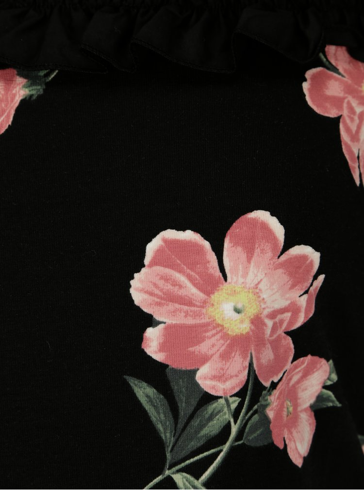 Černé květované těhotenské tričko Dorothy Perkins Maternity