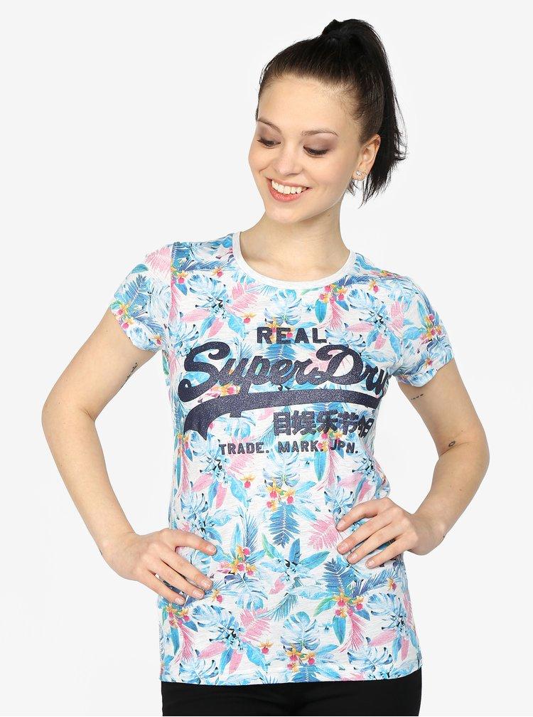 Světle šedé žíhané dámské tričko s potiskem Superdry