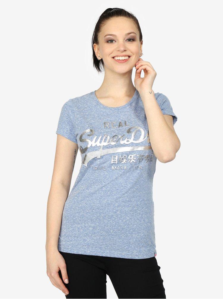 Svetlomodré dámske melírované tričko s potlačou Superdry