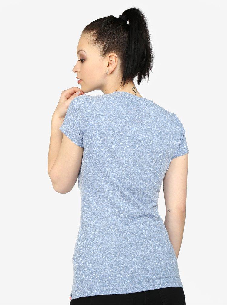 Světle modré dámské žíhané tričko s potiskem Superdry
