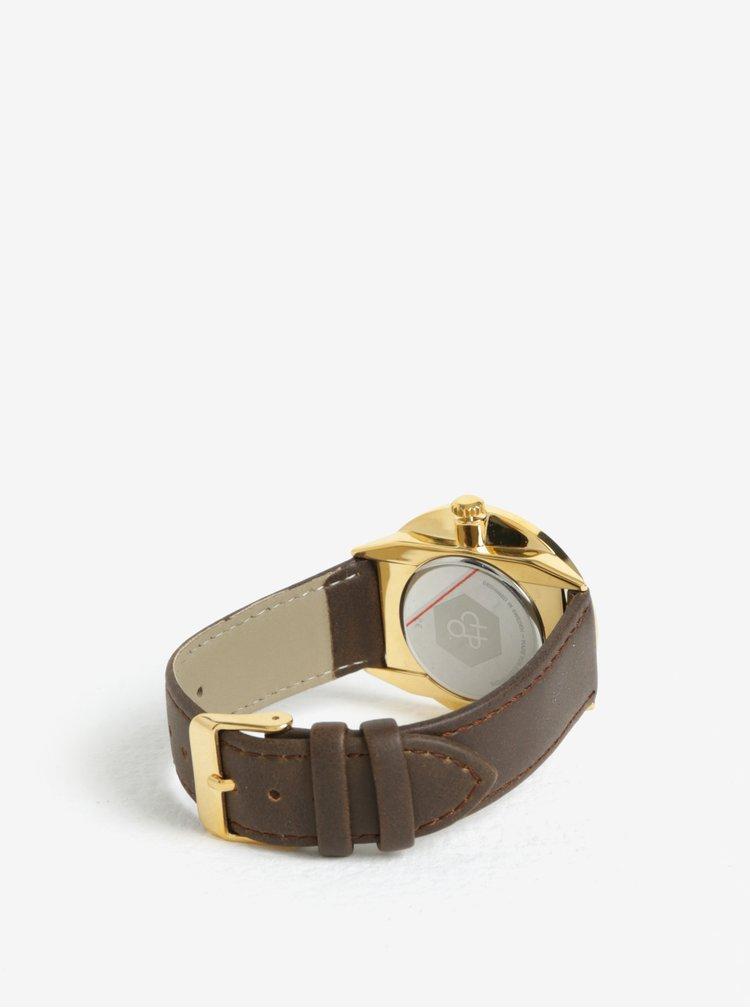 Unisex hodinky ve zlaté barvě s hnědým páskem z veganské kůže Cheapo Khorshid Gold