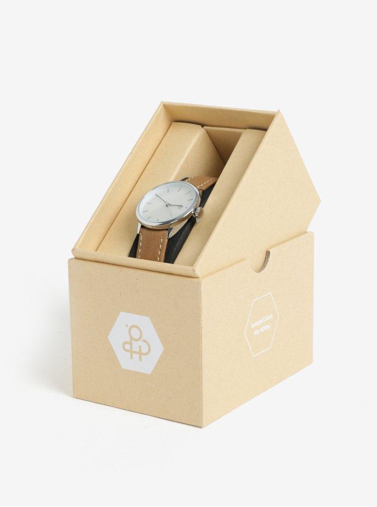Dámské hodinky ve stříbrné barvě s hnědým páskem z veganské kůže CHPO Khorshid Mini Silver