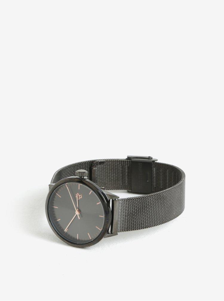 Dámske hodinky s tmavosivým nerezovým remienkom CHPO Nando Mini Gun