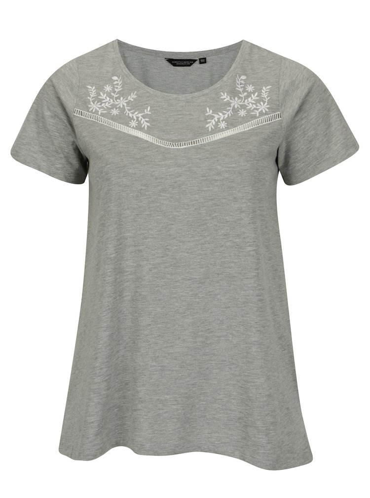 Šedé žíhané tričko s výšivkami Dorothy Perkins Curve