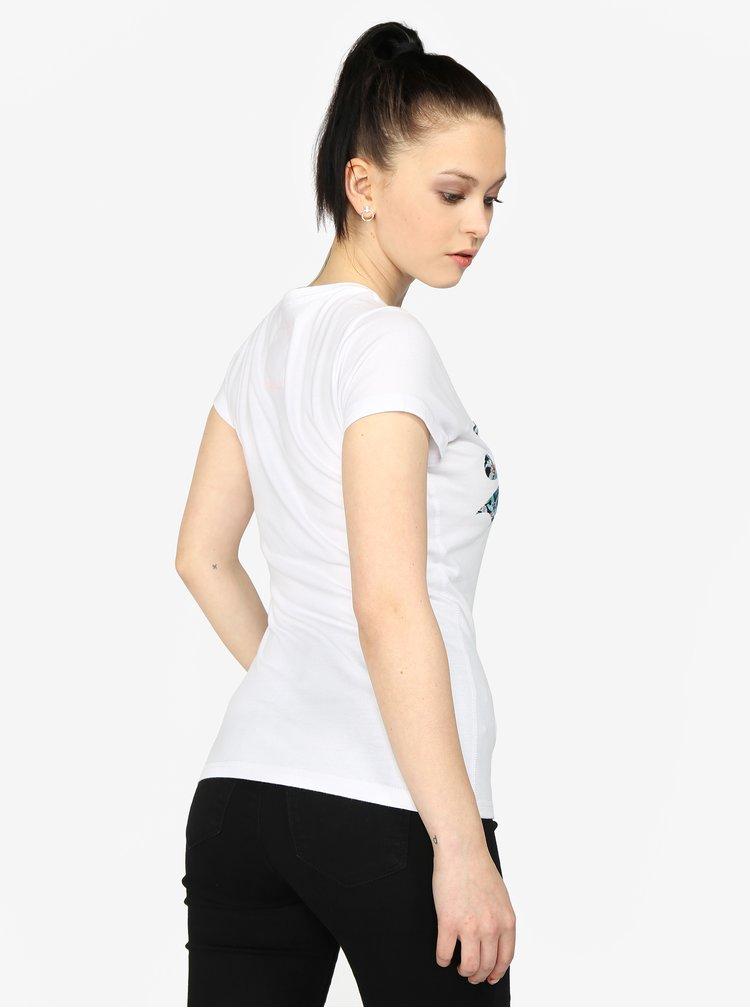 Bílé dámské tričko s potiskem Superdry