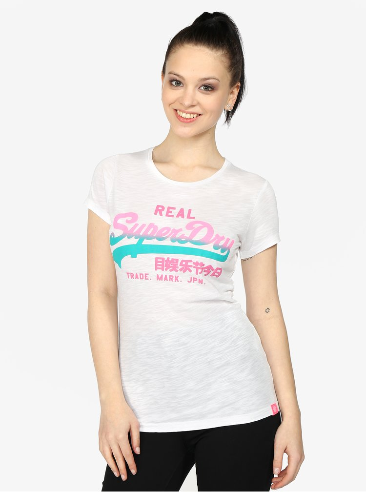 Bílé dámské tričko s barevným potiskem Superdry