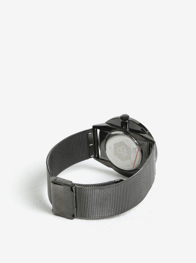 Hodinky s tmavě šedým kovovým páskem CHPO Nando