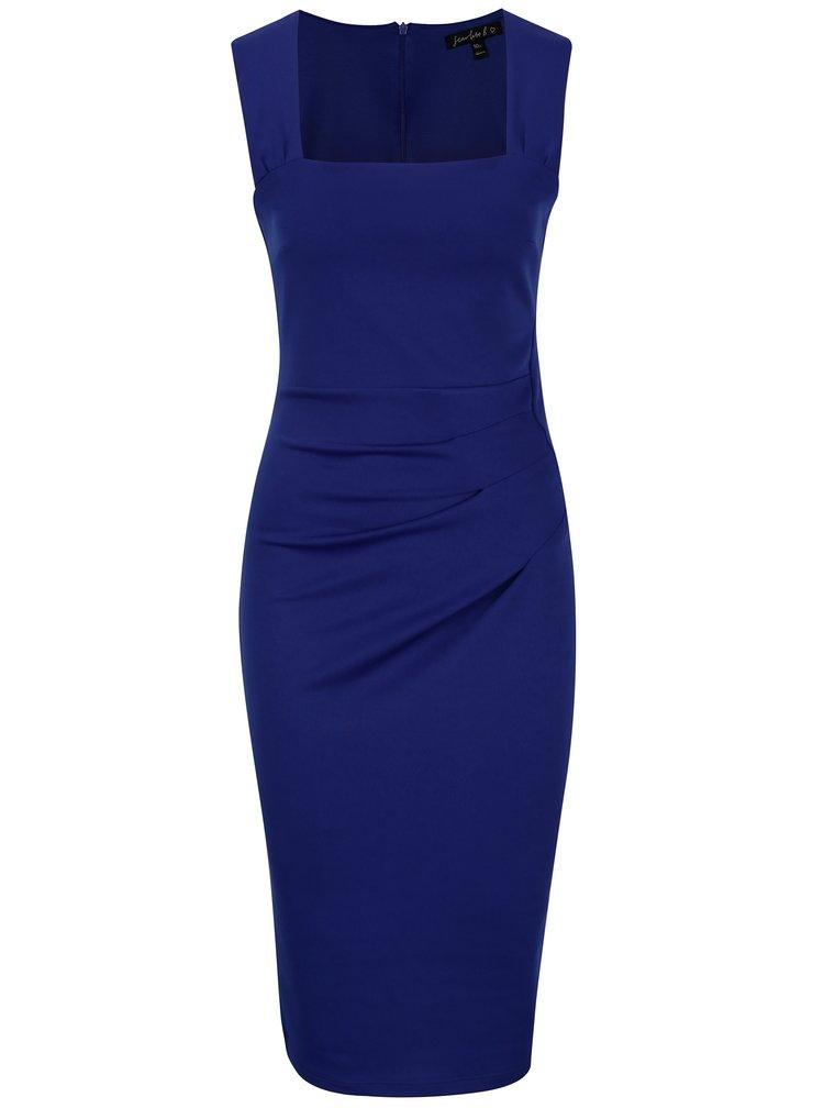 Tmavě modré pouzdrové šaty s hranatým výstřihem Scarlett B