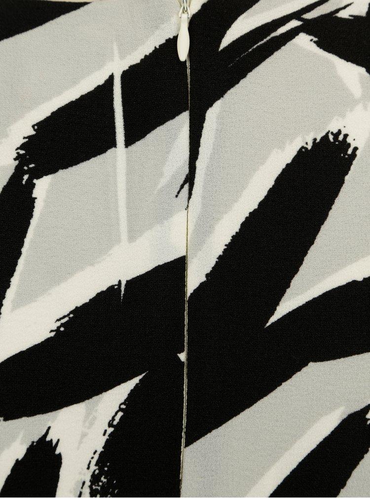 Černo-bílé vzorované šaty s řasením Dorothy Perkins