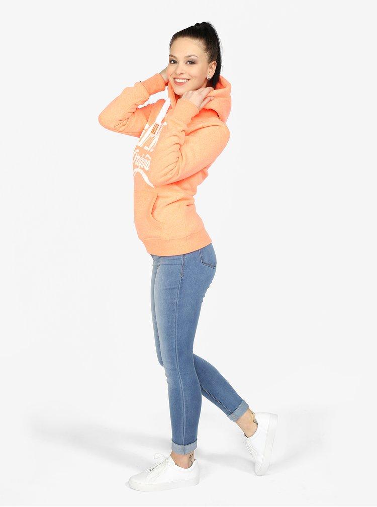 Oranžová dámská mikina s potiskem Superdry