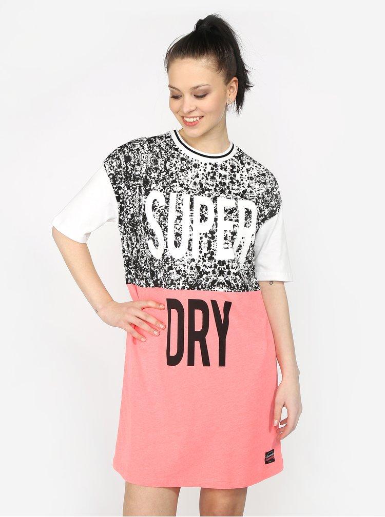 Bílo-růžové dámské šaty s potiskem Superdry