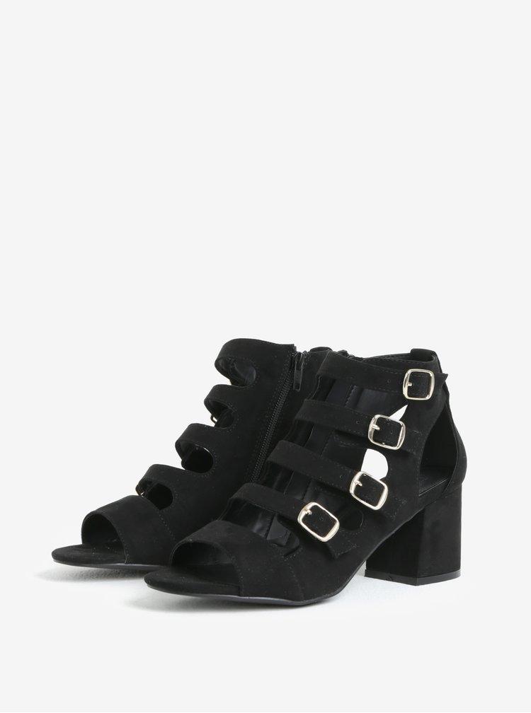 Černé páskové sandály s přezkami Miss Selfridge