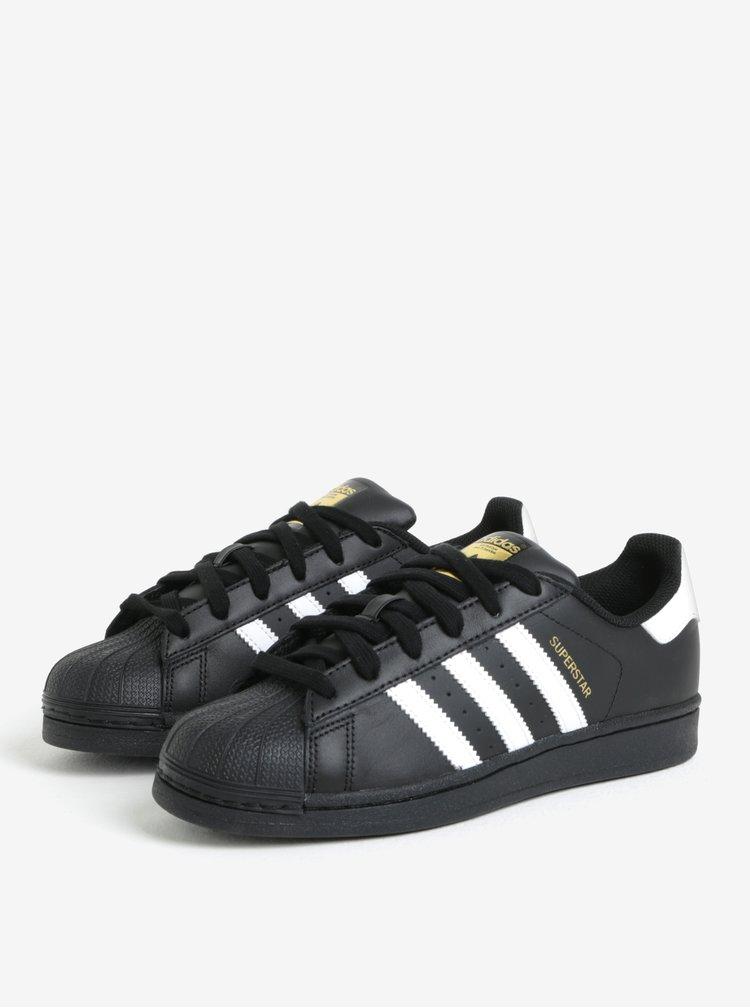 Pantofi sport negri din piele naturala - adidas Originals Superstar
