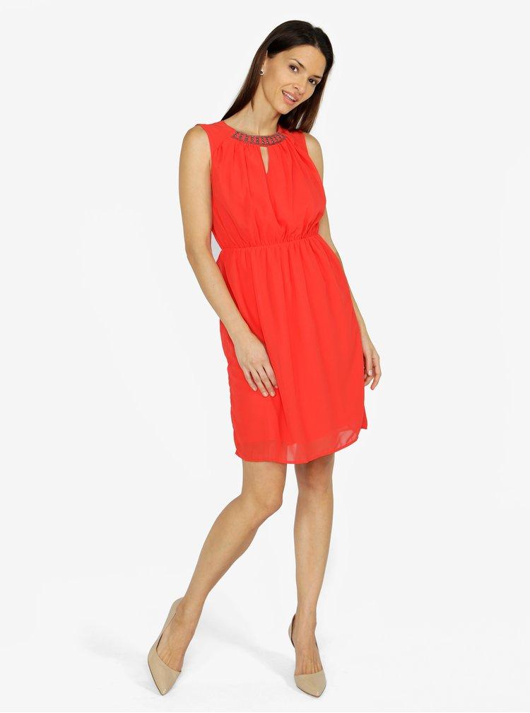 Červené šaty s korálkovou výšivkou VERO MODA Wam
