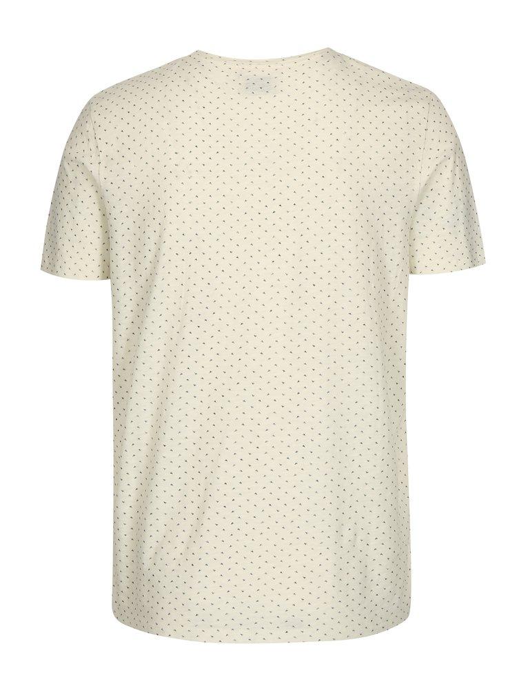 Krémové tričko s jemným vzorem Selected Homme Kris