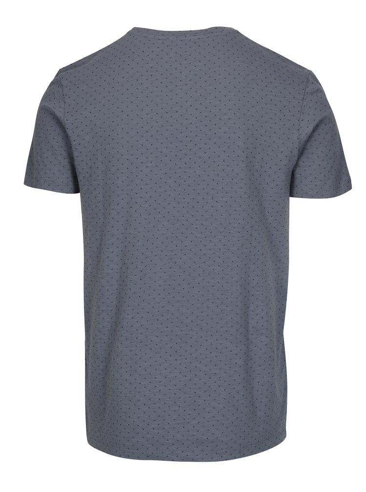 Modré tričko s jemným vzorem Selected Homme Kris