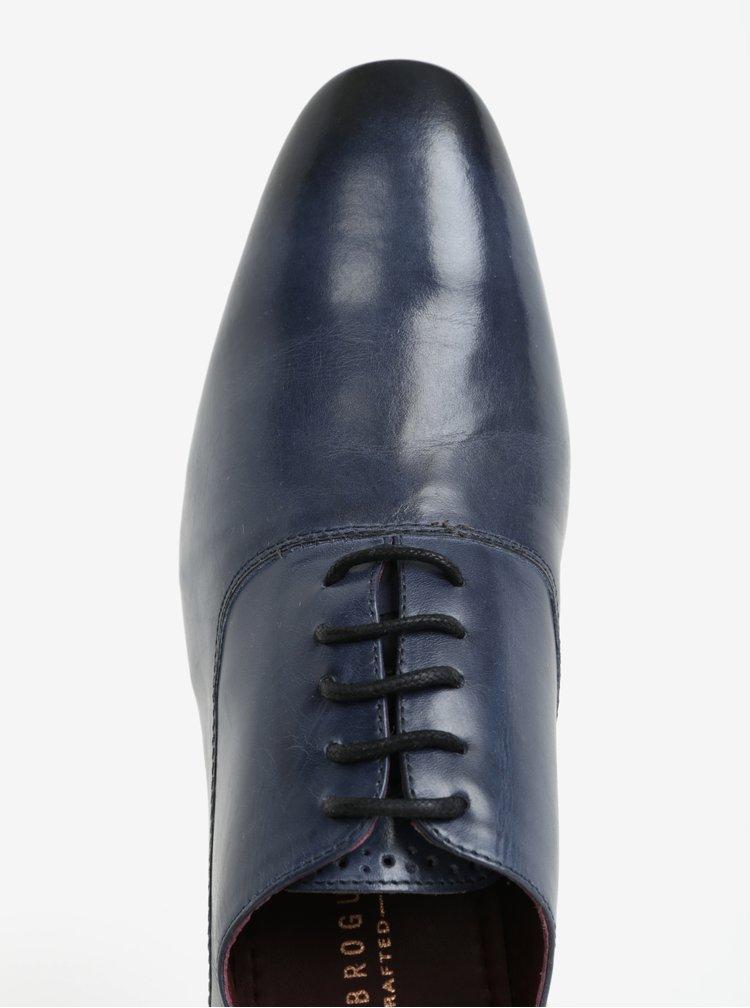 Tmavě modré pánské kožené polobotky London Brogues Denley