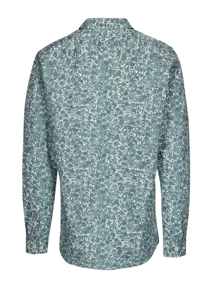 Bílo-zelená vzorovaná slim fit košile Selected Homme One Sel