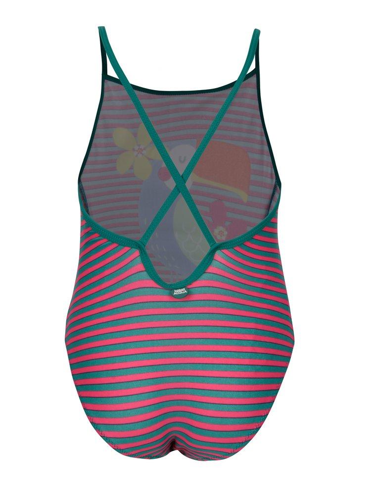 Růžovo-zelené pruhované jednodílné holčičí plavky s potiskem BÓBOLI