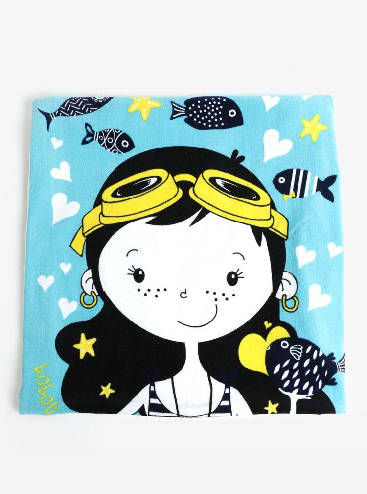 Černo-modrý holčičí ručník s motivem mořské víly BÓBOLI