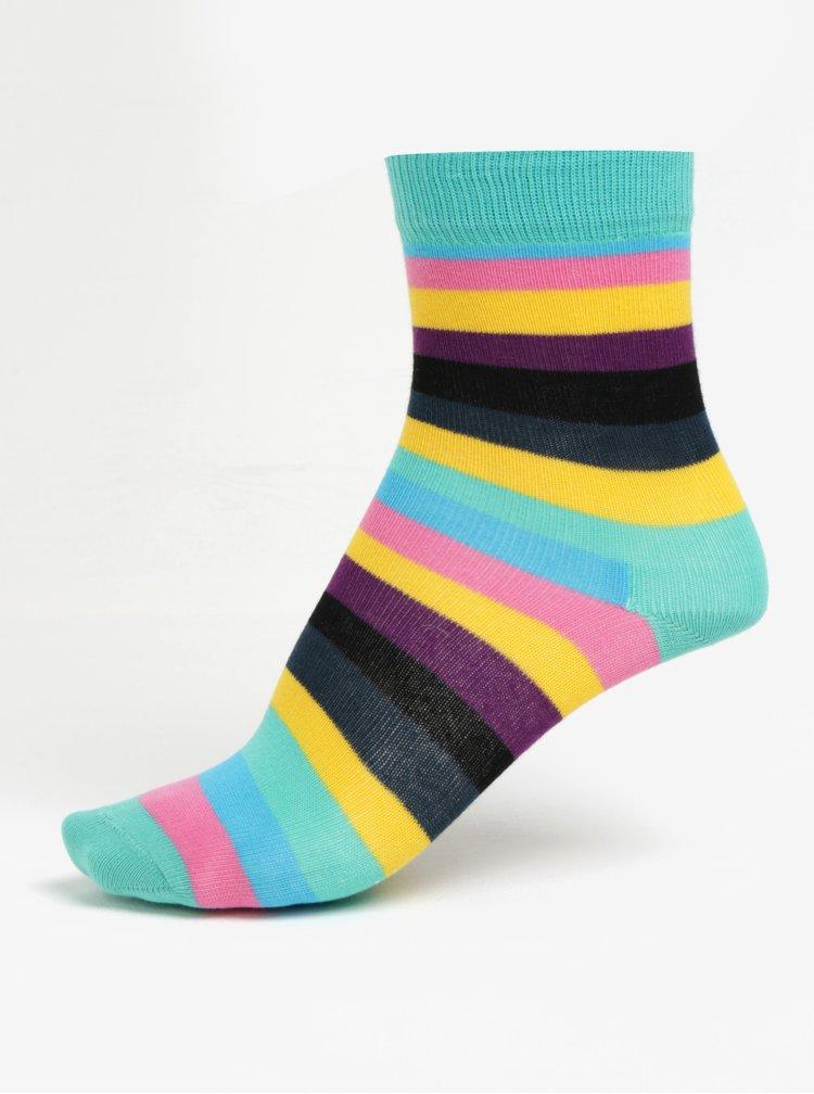 Ružovo-zelené detské pruhované ponožky Happy Socks Stripe