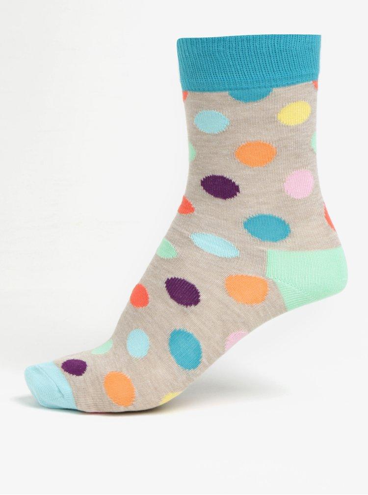 Zeleno-béžové dětské puntíkované ponožky Happy Socks Big Dot